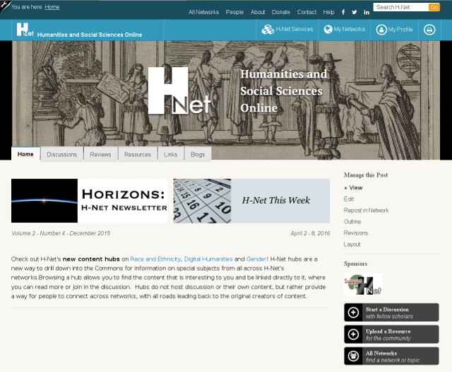 H Net: Humanities And Social Sciences Online